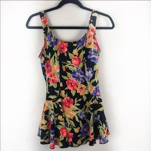 Maxine of Hollywood floral one piece bathing suit